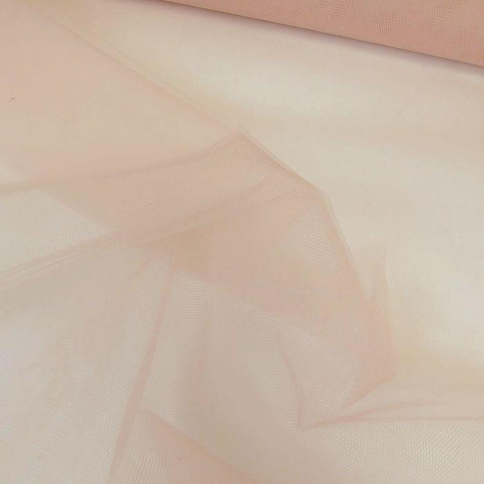 Tissu tulle fin souple - rose nude x 10 cm