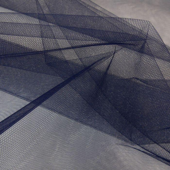 Tissu tulle fin souple - bleu marine x 10 cm