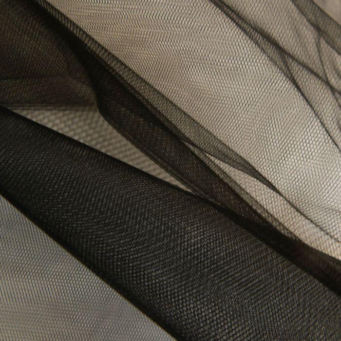 Tissu tulle fin souple - noir x 10 cm