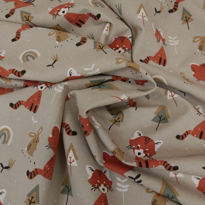 Tissu jersey coton oeko-tex renards - gris x 10cm