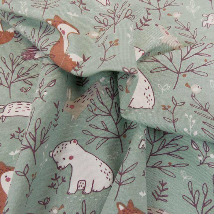 Tissu jersey coton oeko-tex forêt - vert x 10cm