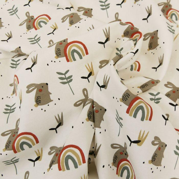 Tissu jersey coton oeko-tex lapins - blanc x 10cm