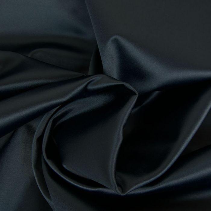 Tissu satin coton - bleu marine x 10cm