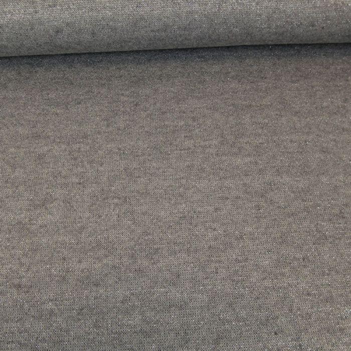 Tissu jersey maille lurex - gris foncé x 10 cm