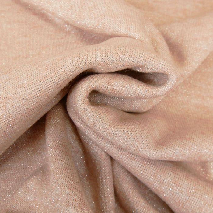 Tissu jersey maille lurex - rose x 10 cm
