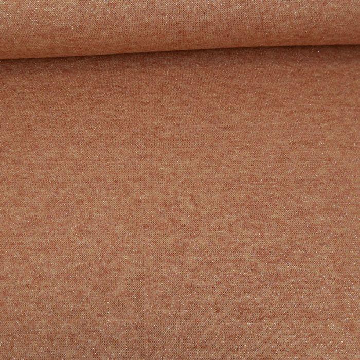Tissu jersey maille lurex - terracotta x 10 cm