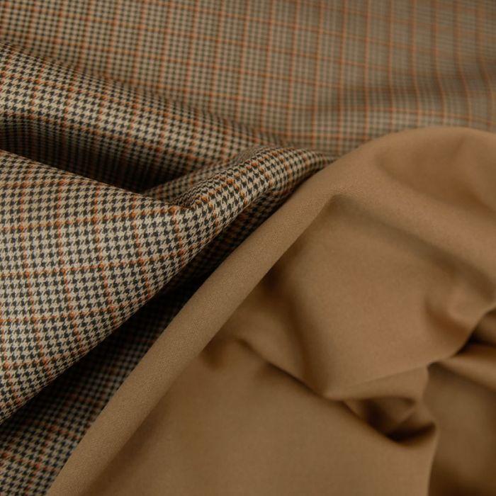 Coupon tissu pied de poule stretch marron - 50 X 150 cm