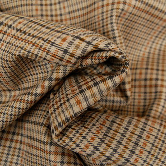 Tissu prince de galles stretch - marron x 10 cm