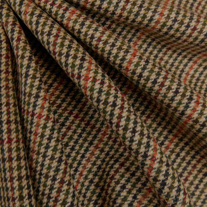 Tissu laine pied de poule - camel x 10 cm