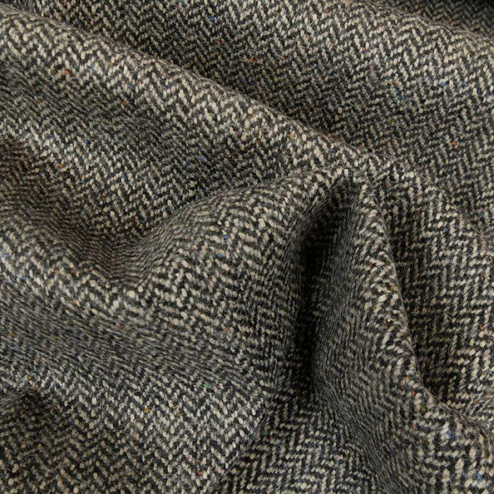 Tissu lainage mélangé chevrons - noir x 10 cm
