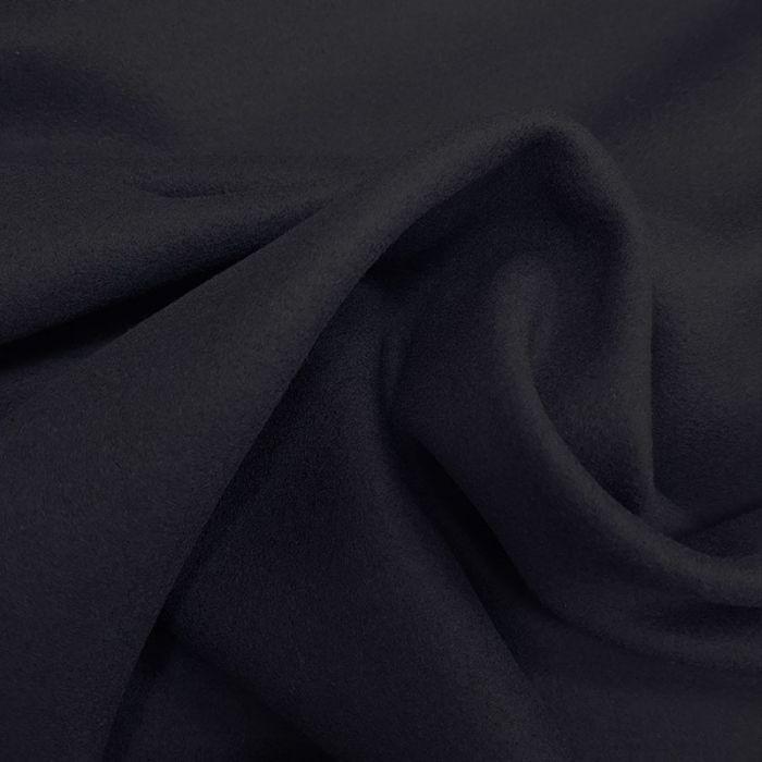 Tissu laine et alpaga noir - bleu nuit x 10 cm