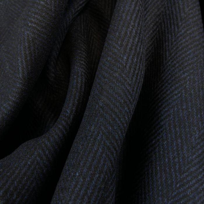 Tissu lainage chevrons noir - bleu foncé x 10 cm