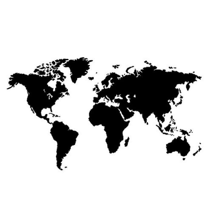 Transfert textile mappemonde - noir