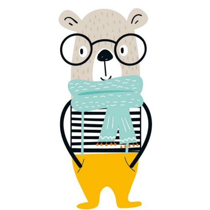 Transfert textile ours lunettes