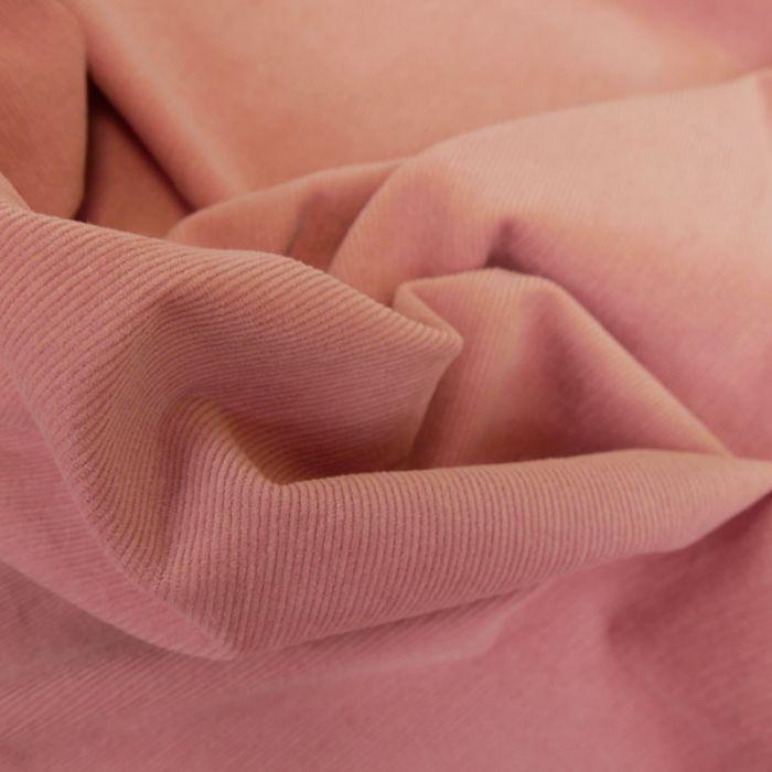 Tissu velours milleraies stretch - rose x 10 cm