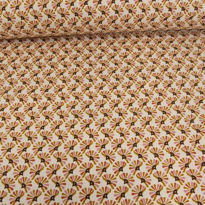 Tissu coton oeko-tex Xico rose caramel - blanc x 10cm