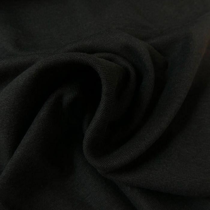 Tissu bord-côte bio uni tubulaire - noir x 10 cm