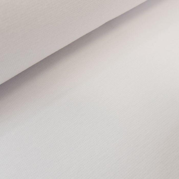 Tissu bord-côte bio uni tubulaire - blanc x 10 cm