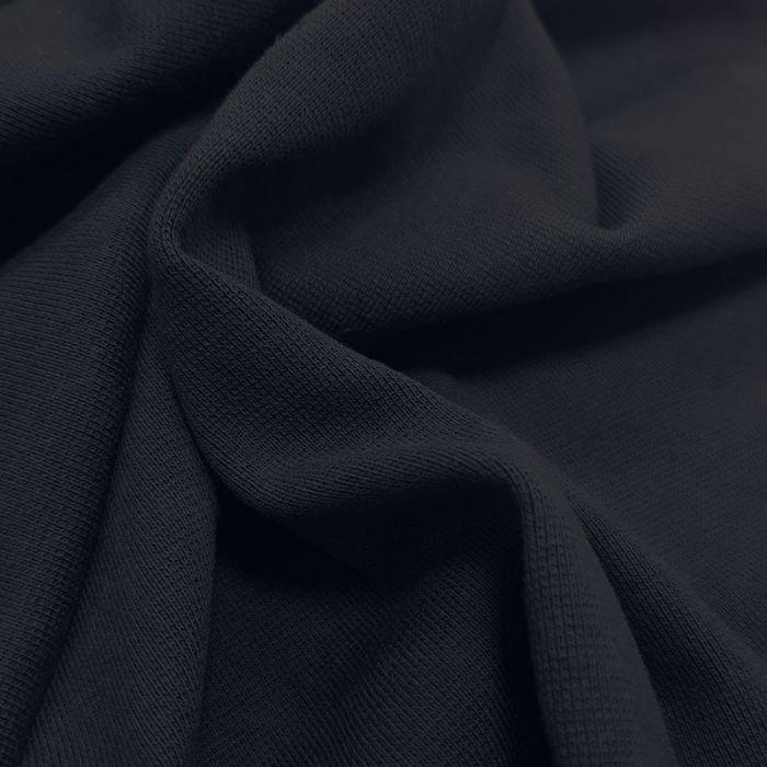 Tissu bord-côte bio uni tubulaire - marine x 10 cm