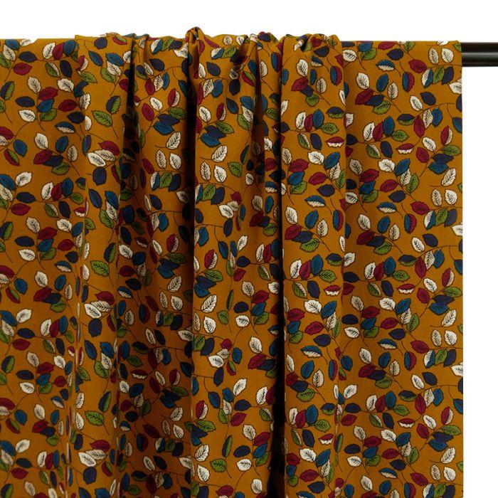 Tissu viscose feuilles automnales - moutarde x 10 cm