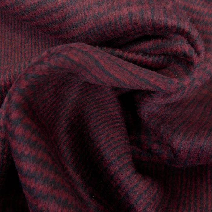 Tissu lainage cachemire prince de Galles - bordeaux x 10 cm