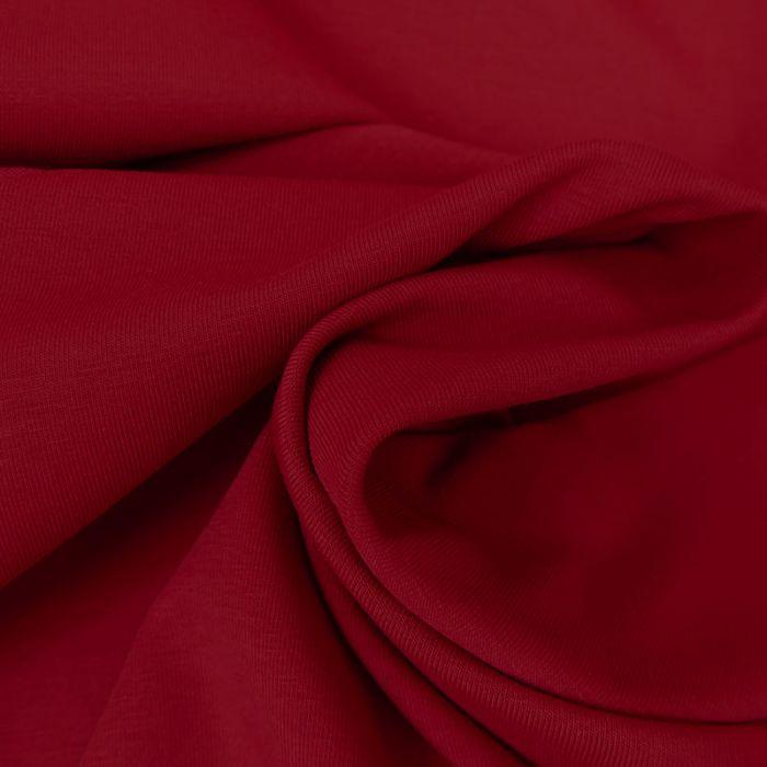 Tissu jersey coton bio uni - rouge x 10cm