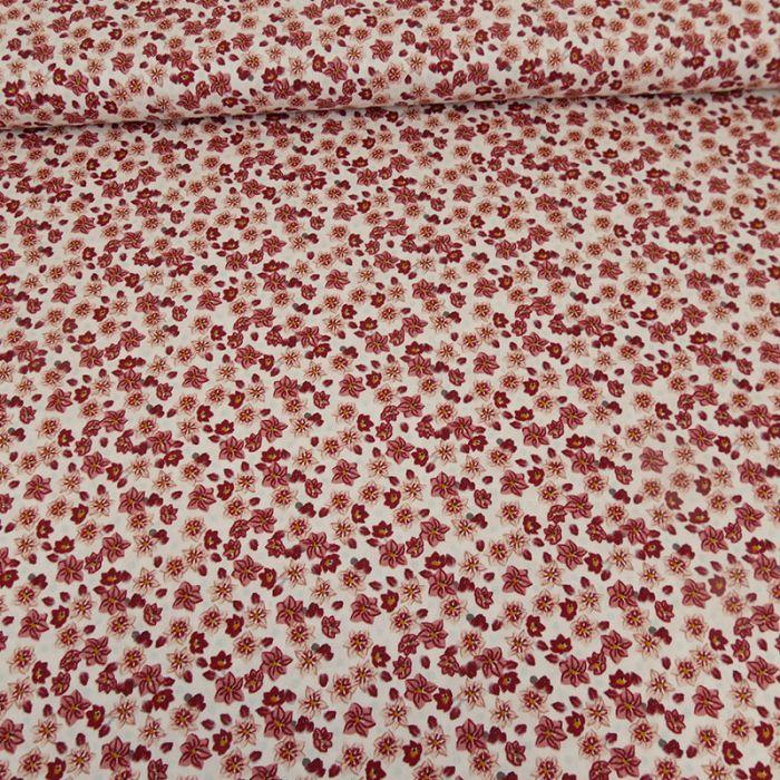 Tissu coton popeline bio fleurs - rouge x 10 cm