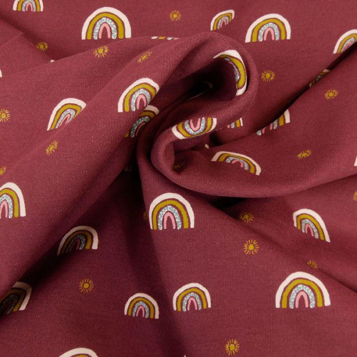 Tissu jersey bio sweat léger arc-en-ciel - bordeaux x 10 cm