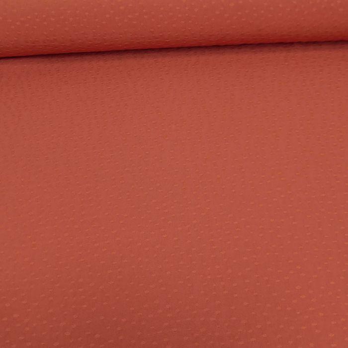 Tissu viscose pois - terracotta x 10 cm