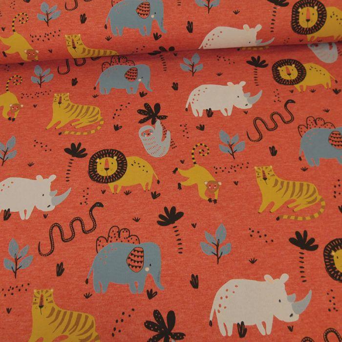 Tissu jersey fin savane - orange x 10 cm