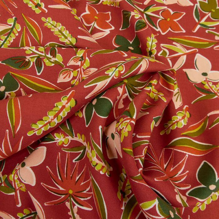 Tissu viscose fleurs tropicales - brun cuivré x 10 cm