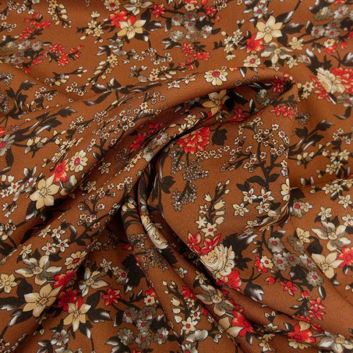 Tissu viscose fleurs Mily - marron x 10 cm