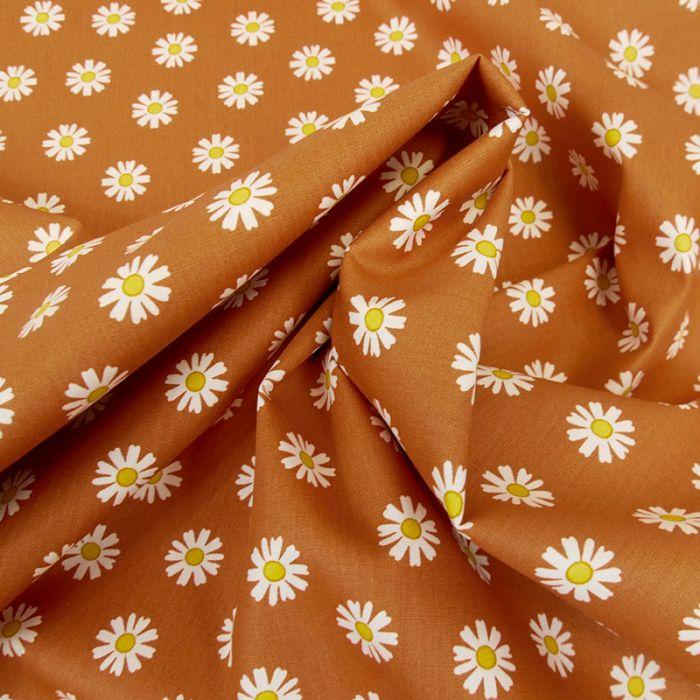 Tissu popeline coton pâquerettes - rouille x 10 cm