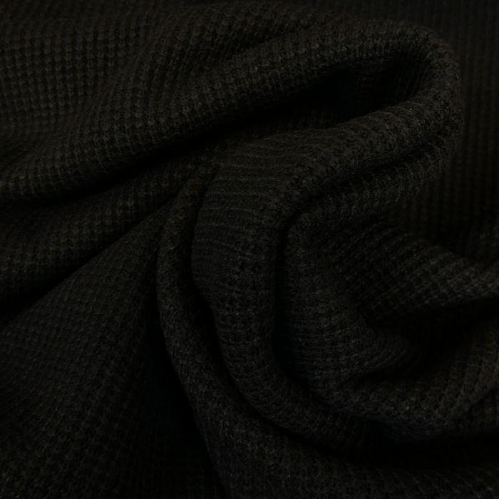 Tissu maille côtelé - noir x 10cm