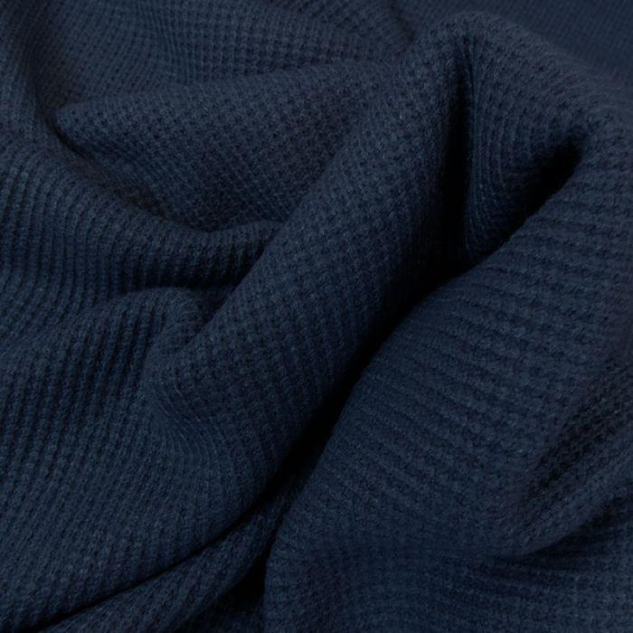 Tissu maille côtelé - bleu marine x 10cm