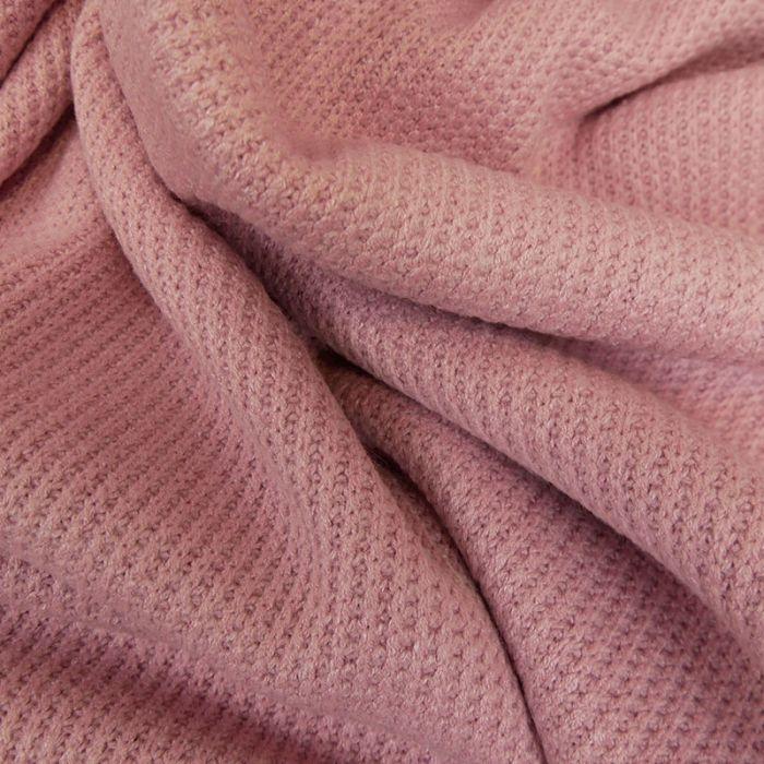 Tissu maille côtelé - rose x 10cm
