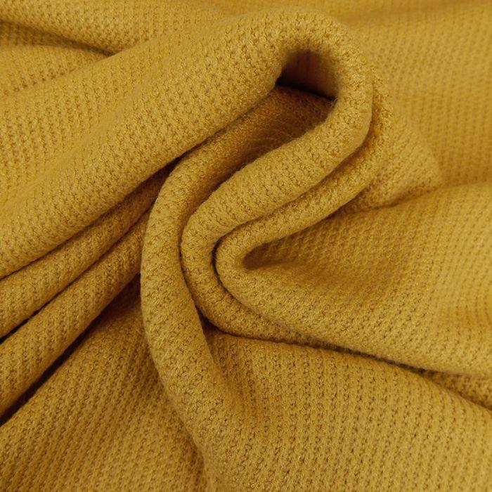 Tissu maille côtelé - moutarde x 10cm
