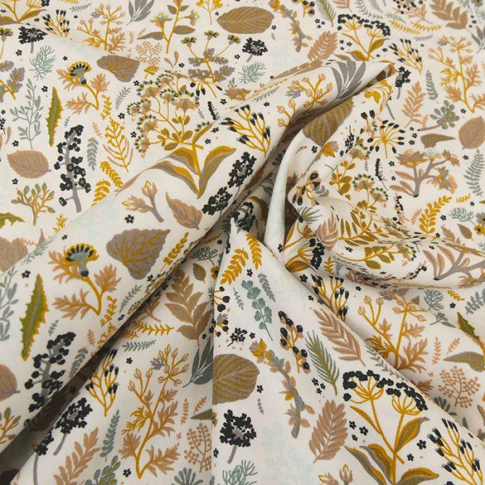 Tissu coton popeline bio garden - moutarde x 10 cm