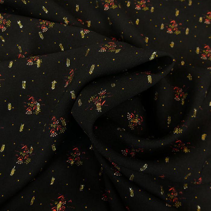 Tissu viscose épi fleurs glitter - noir x 10 cm