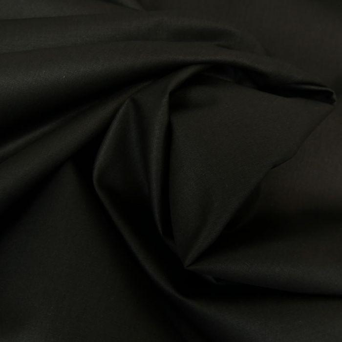 Tissu coton popeline bio - noir x 10 cm