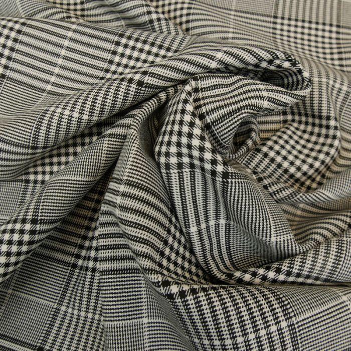 Tissu polyviscose prince de Galles - noir x 10 cm