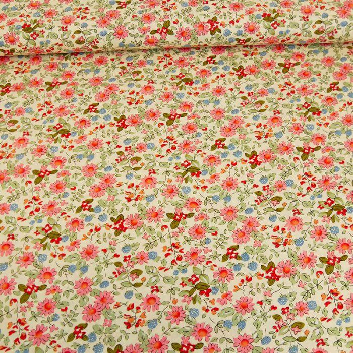 Tissu popeline coton Amanda - rose x 10 cm