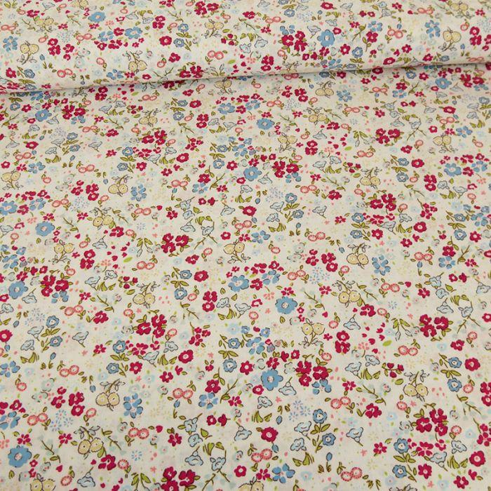 Tissu popeline coton Lyana - bleu x 10 cm