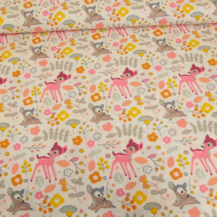 Tissu popeline coton faon - rose x 10 cm