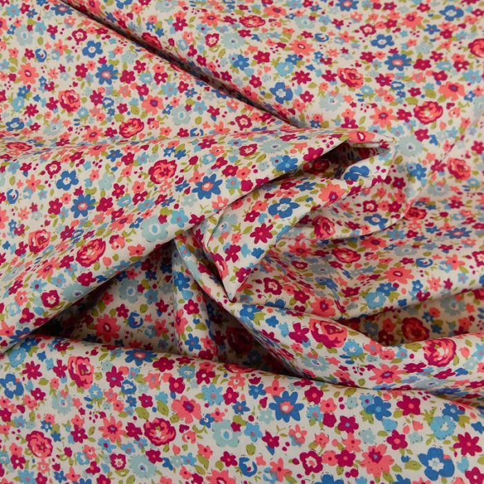 Tissu popeline coton Emy - rose x 10 cm
