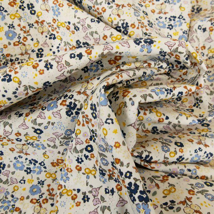 Tissu popeline coton Valentine - blanc x 10 cm