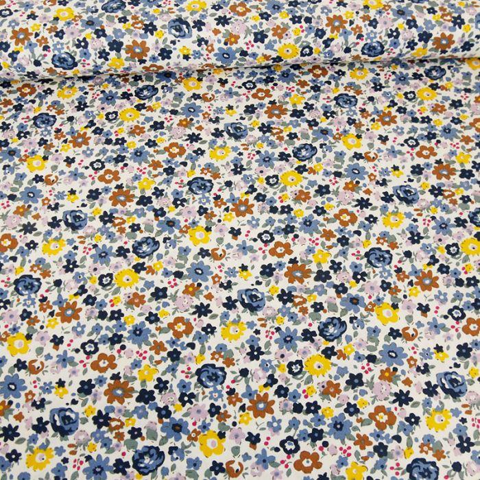 Tissu popeline coton Inaya - bleu x 10 cm