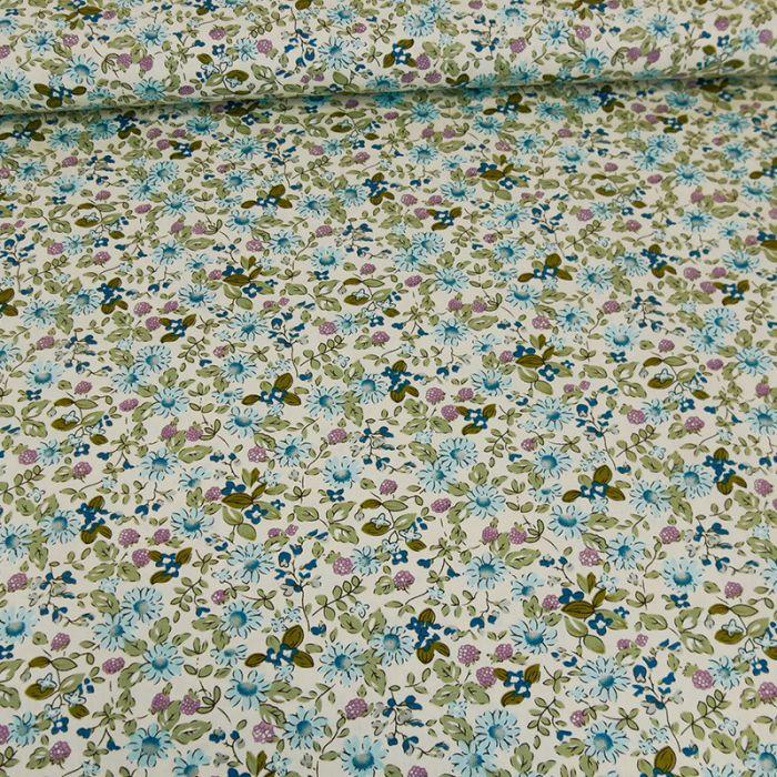 Tissu popeline coton Anna - bleu x 10 cm