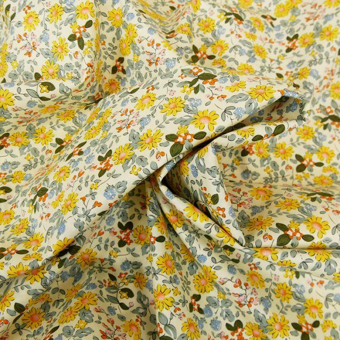 Tissu popeline coton Lola - jaune x 10 cm