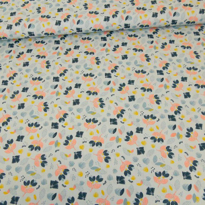 Tissu popeline coton flowers - bleu clair x 10 cm
